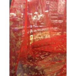 Voile rouge pailleté dessin sapin