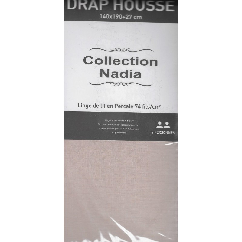 drap housse 140x190 percale beige. Black Bedroom Furniture Sets. Home Design Ideas