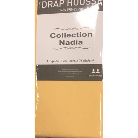 drap housse jaune 100 coton 160x200. Black Bedroom Furniture Sets. Home Design Ideas
