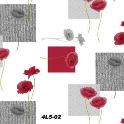 Toile cirée fleurs rouge et grises
